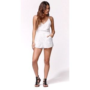 Kendall & Kylie Strappy Lace Knit Romper